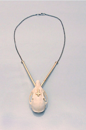 One-off Real Squirrel Skull & Cross Necklace
