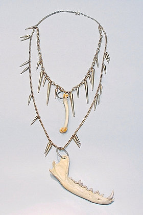 One-off Real Fox Jaw and Bone Necklace