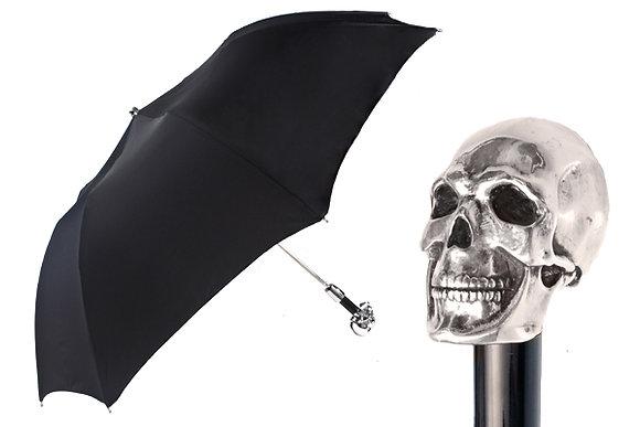 Silver Plated Skull Handle Foldable Umbrella