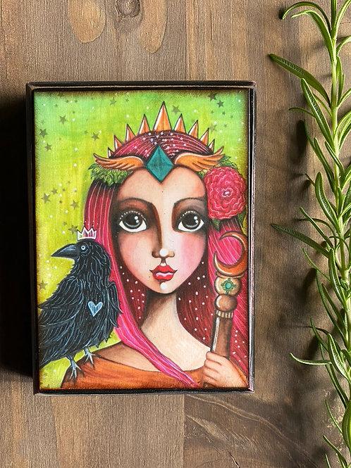 Queen of Wands Wooden Plaque