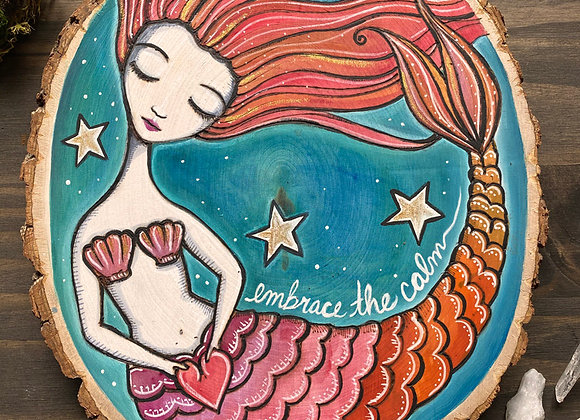 The Red Mermaid - Basswood Rustic Wall Art