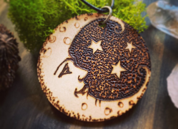 Man in the Moon - Pyrography Pendant