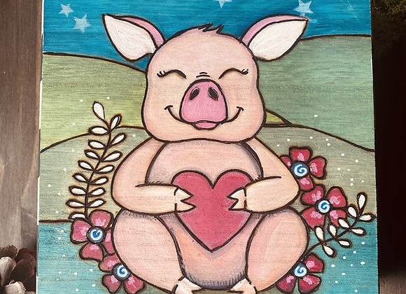For the love of a pig - wooden keepsake box