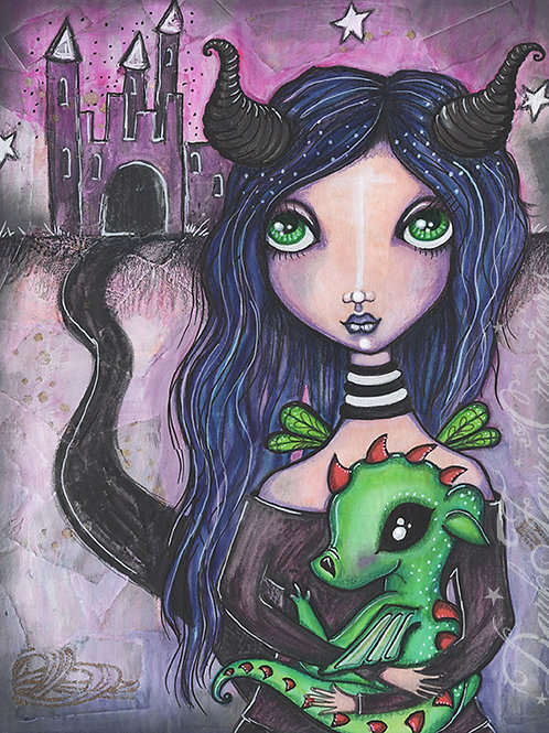 The Dark Faerie - Homage to Maleficent - Original Illustration