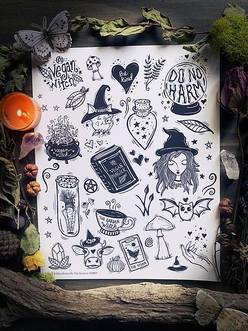 Vegan Witch Clip Art Bundle