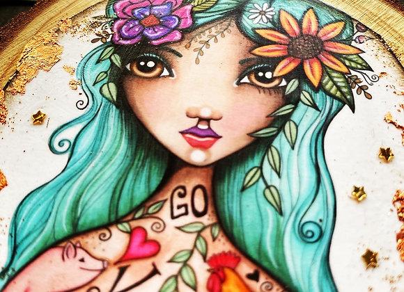 """""""Vegan Goddess"""" Deluxe Wooden Ornament"""