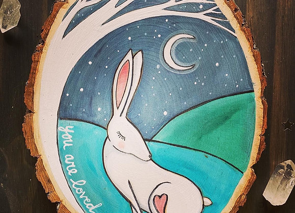 You Are Loved - white Rabbit Basswood Rustic Wall Art