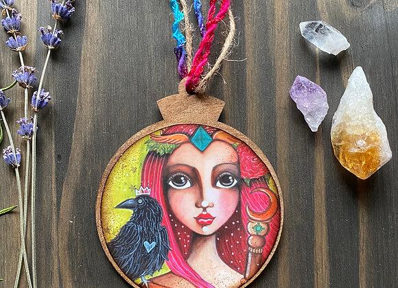 Queen of Wands - Wooden Ornament