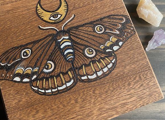 Moth - Wooden Keepsake Box