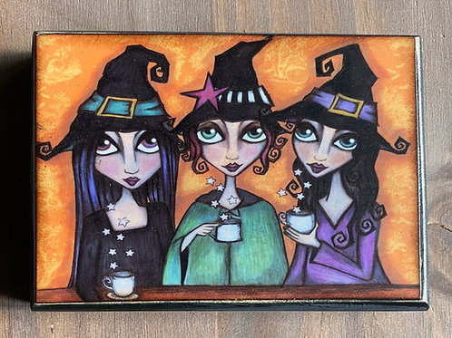 The Witch's Tea Party Wooden Plaque