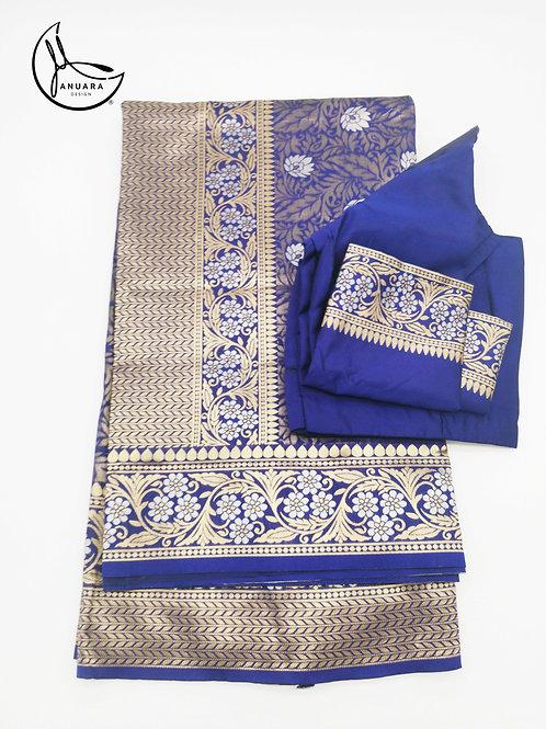 Navy Golden Silk Saree