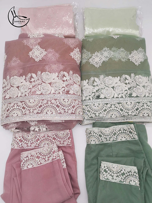 Netted Saree in colour Blush pink or Olive Green