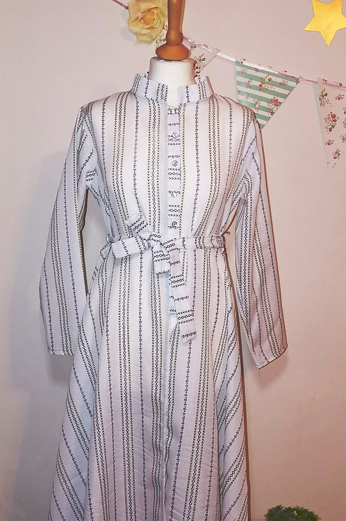 White Tribal Striped Dress