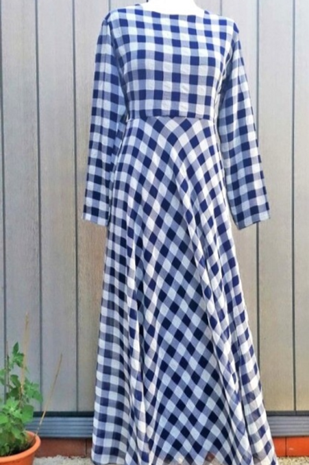 Navy blue check dress front view