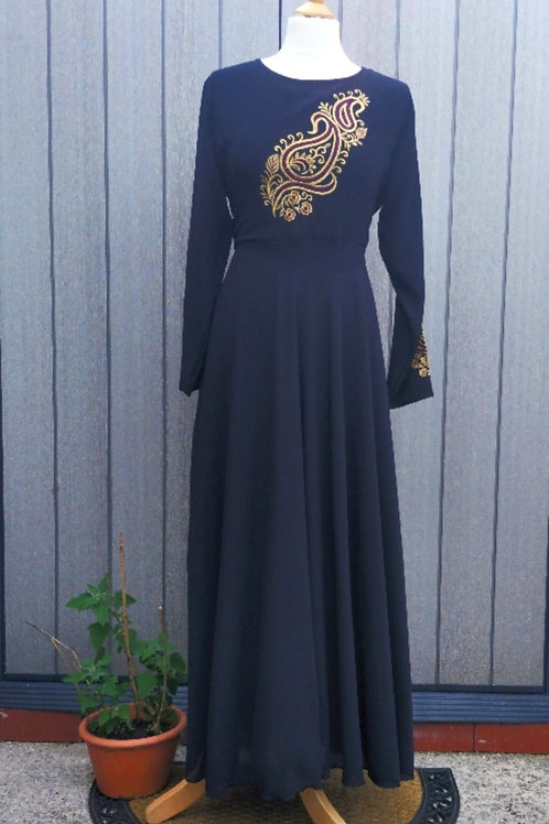 Georgette Modest dress in colour Black