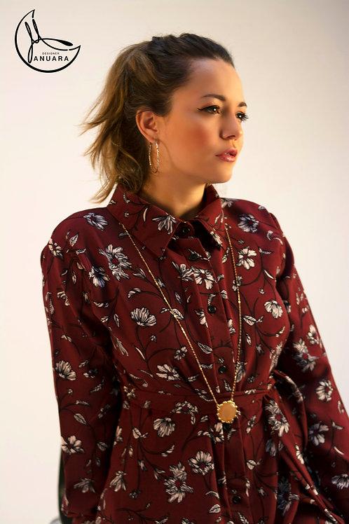 Deep Burgundy Ariel Shirt Dress