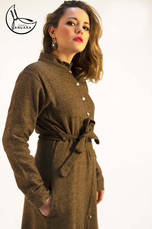 Taupe Wool Blend Shirt Dress