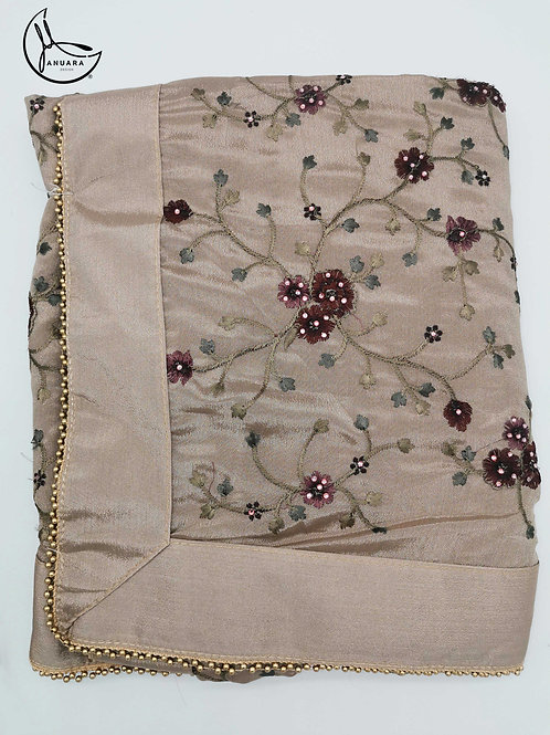 Floral Soft Crepe Saree in Champagne