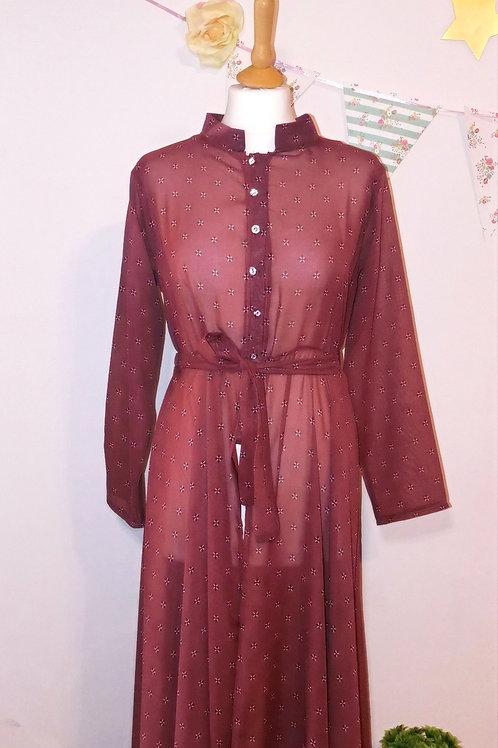 Sheer Maroon Outerwear Dress/Jacket
