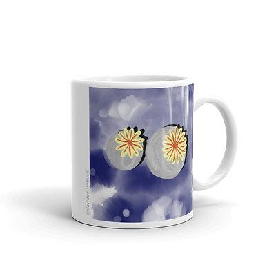 Poppies white glossy mug