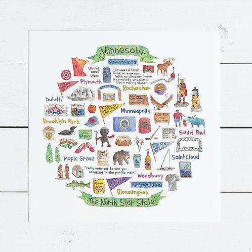 Minnesota Icon Watercolor