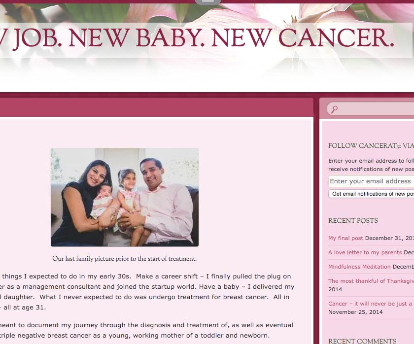 Screenshot of Parul's cancer blog.
