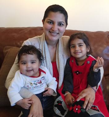 Parul with her kids post-treatment.