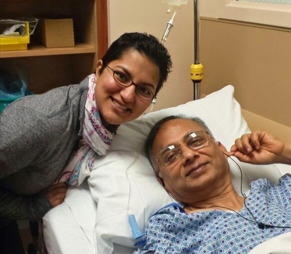 Parul & and her dad at his ear surgery.