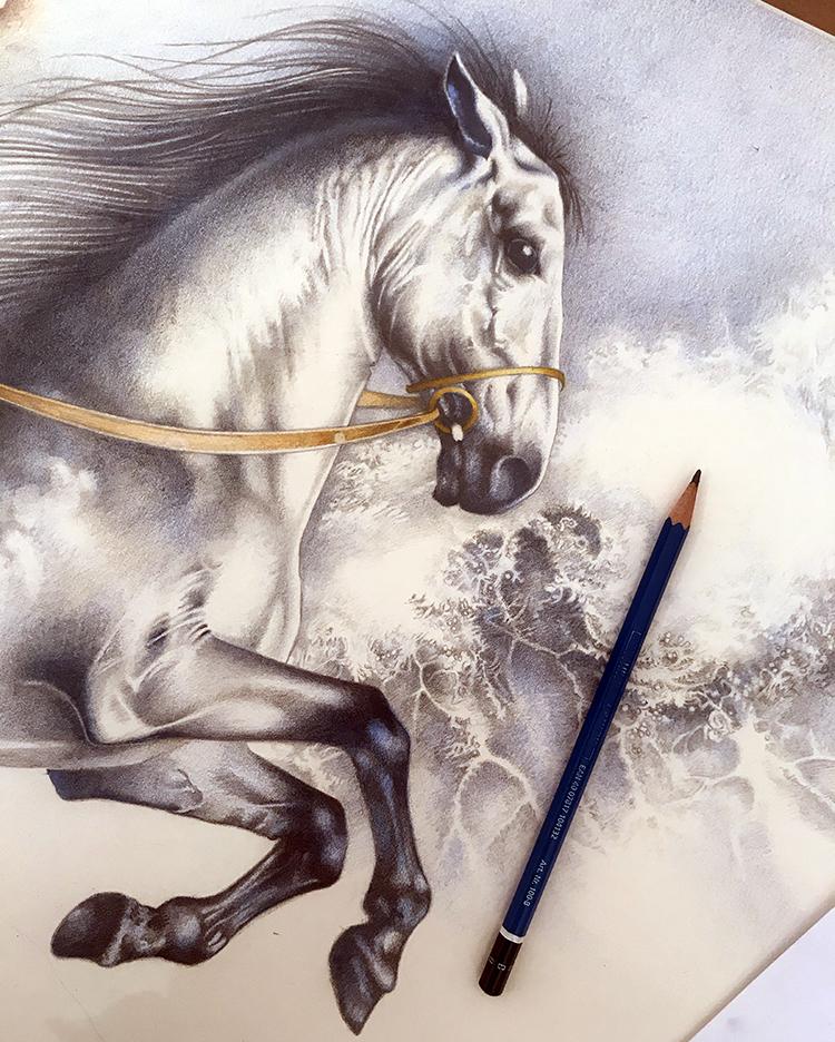 WIP The Seahorse - mermaid book (detail, colour)