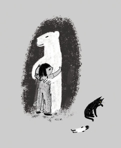 Juliet and the Bear (Black and white sketches for a picture book)