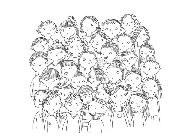 Drawing of a class of children