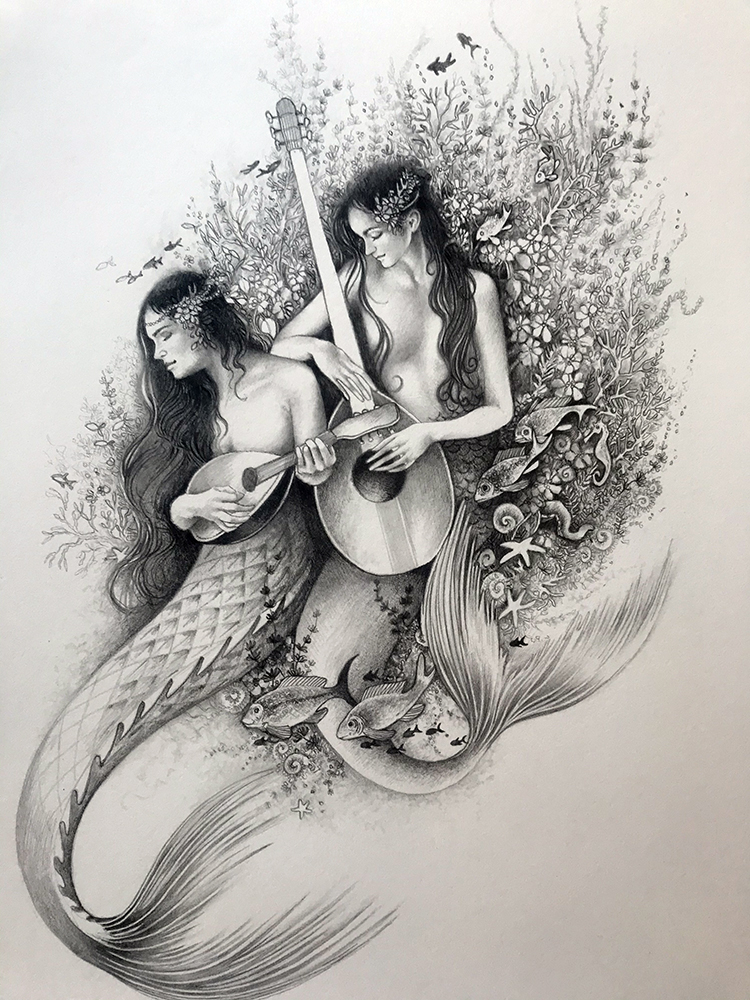 WIP mermaid book (spot illustration)
