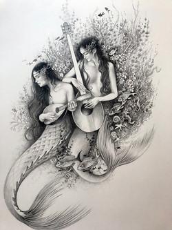 WIP mermaid book (spot illustration)