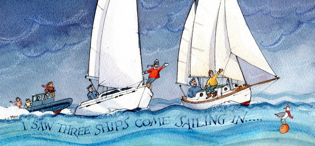 Family Christmas card commissioned by Sir Robin Knox-Johnston