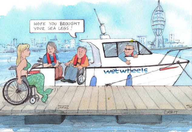 Fundraising cartoon for Wetwheels charity
