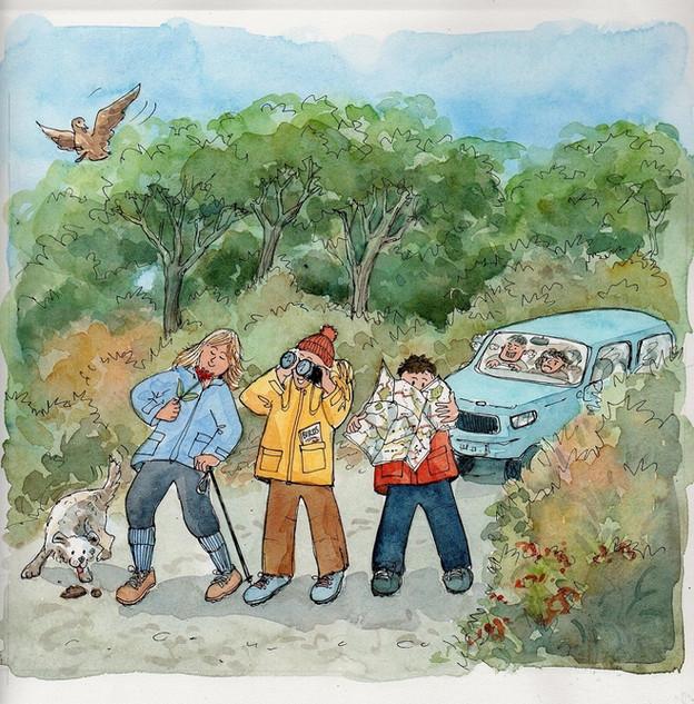 Cartoon for Quiet Lanes campaign, Suffolk Coasta