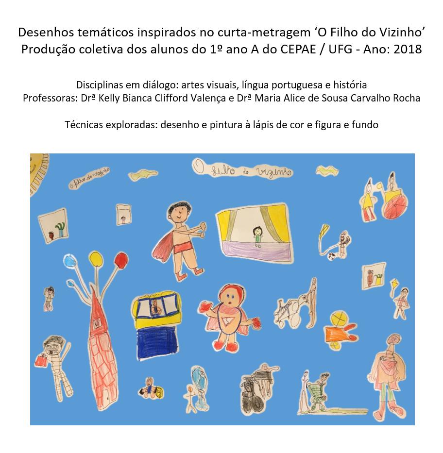 """Desenhos inspirados no curta-metragem """"O filho do vizinho""""."""