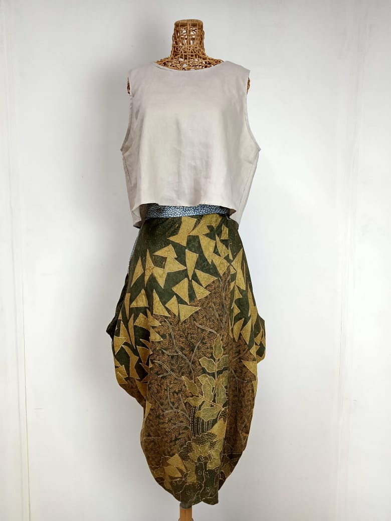 Hand Drawn Batik Long Skirt