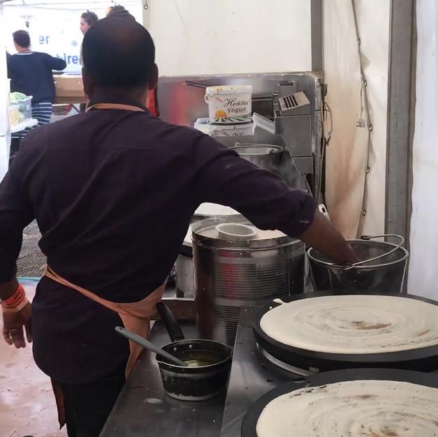 Making the famous Masala Dosas!