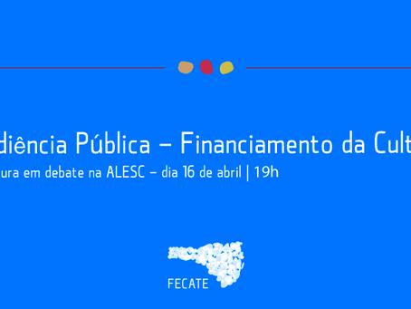 Audiência Pública - Financiamento da Cultura em Santa Catarina   Convocação