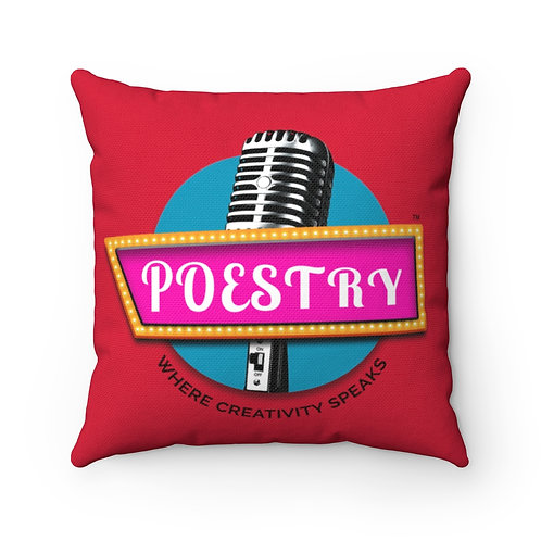 Poestry Square Pillow in Red