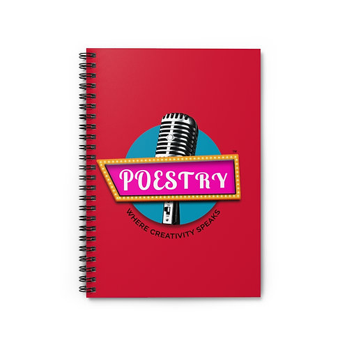 Poestry Spiral Notebook - Ruled Line in Red