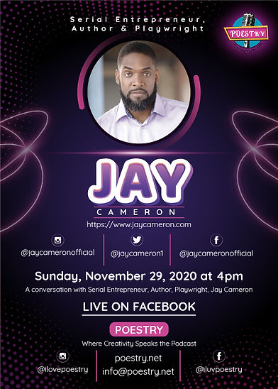 Flyer-Jay Cameron Author Playwright Entr