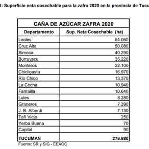 Estimación de superficie cosechable y producciónde materia prima y azúcar para la zafra 2020