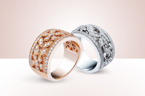 Diamond encrusted Rose Gold and White gold rings