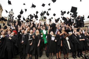 Traditional Graduation Cap Throwing