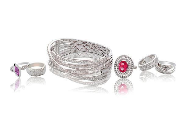 Diamond encrusted Platinum bracelet and coloured stone platinum rings