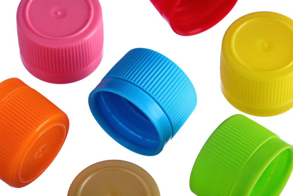 Multi-coloured bottle caps