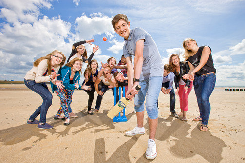 Sixth Form Students Beach Cricket