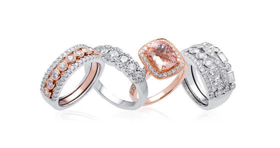 Rose and White Gold Ring Arrangement